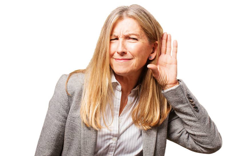 Woman struggling to hear